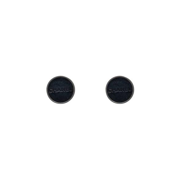 Chanel Gunmetal & Black Leather Disk Earrings, Autumn 2000