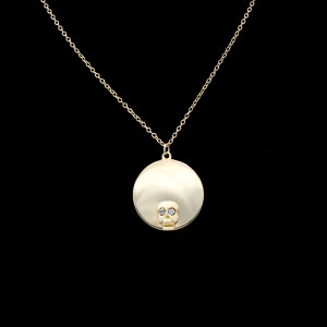 14k Gold, Bone, & Diamond Halo Memento Mori Necklace
