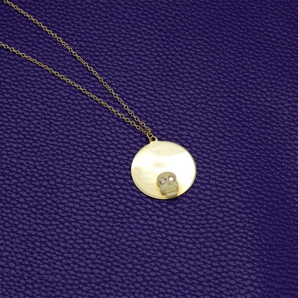 14k Gold, Bone, & Diamond Halo Memento Mori Necklace