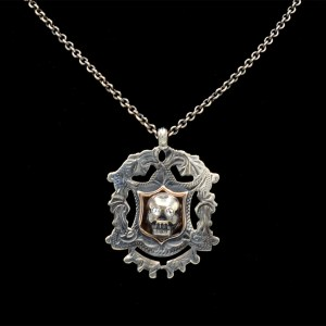 Sterling, Rose Gold, & Paste Memento Mori Necklace