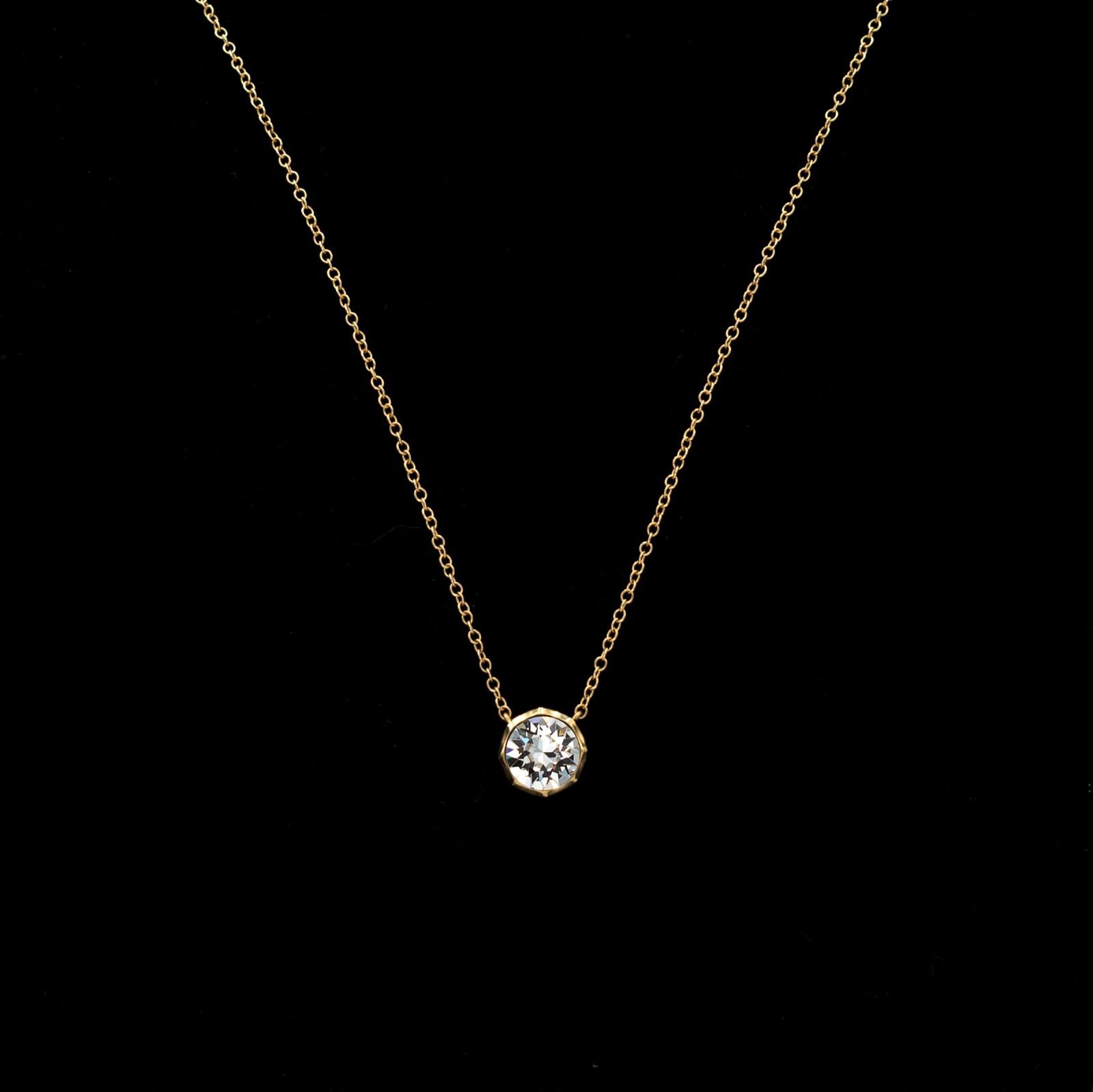 Revival Paste 14K Gold Small Paste Solitaire Necklace