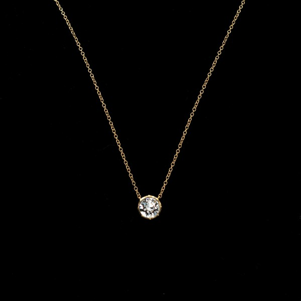 Revival Paste 14K Gold Small Paste Solitaire Necklace
