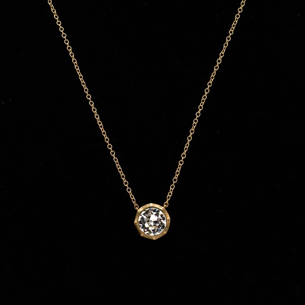 Revival Paste 14k Gold 2.5 carat Paste Solitaire Necklace