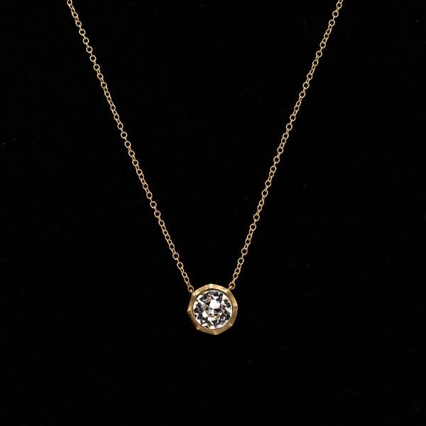 Revival Paste 14k Gold 2.5 carat Paste Solitaire Necklace