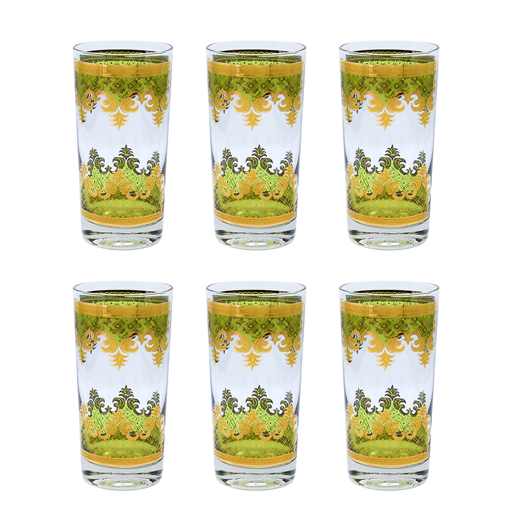 """Set of 6 (Six) Georges Briard """"Carrara"""" in 22k Gold and Green Highball Glasses"""