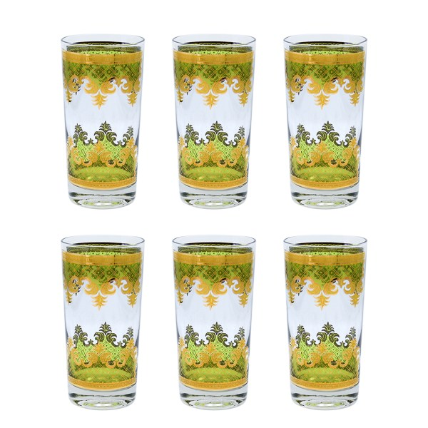 "Set of 6 (Six) Georges Briard ""Carrara"" in 22k Gold and Green Highball Glasses"