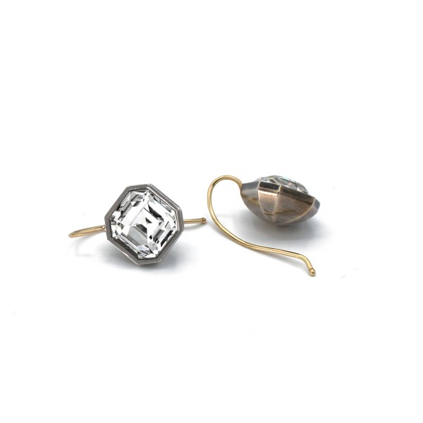 Revival Paste Asscher-cut paste earrings turned on its axis in antiqued sterling with 14K wires