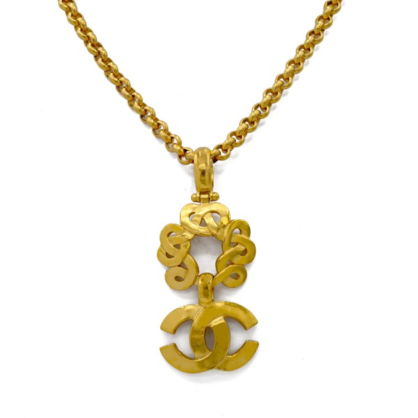 "Chanel 29 3/4"" Loopy Circle with Logo Pendant Necklace, Spring 1997"