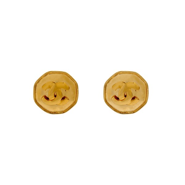"Chanel 1 1/4"" Gilt Octagonal Disk Earrings, Spring 1995"