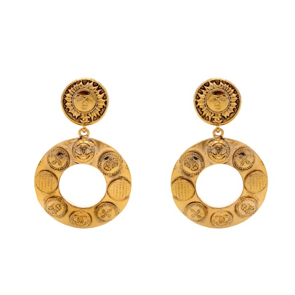 "Chanel 3 3/8"" Doorknocker Hoops with Sun Face & Coin Motif, 1991"