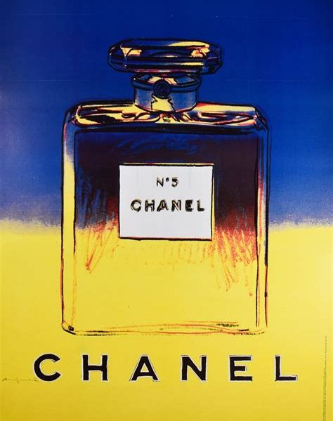 Framed Chanel No.5 Blue/Yellow Lithograph