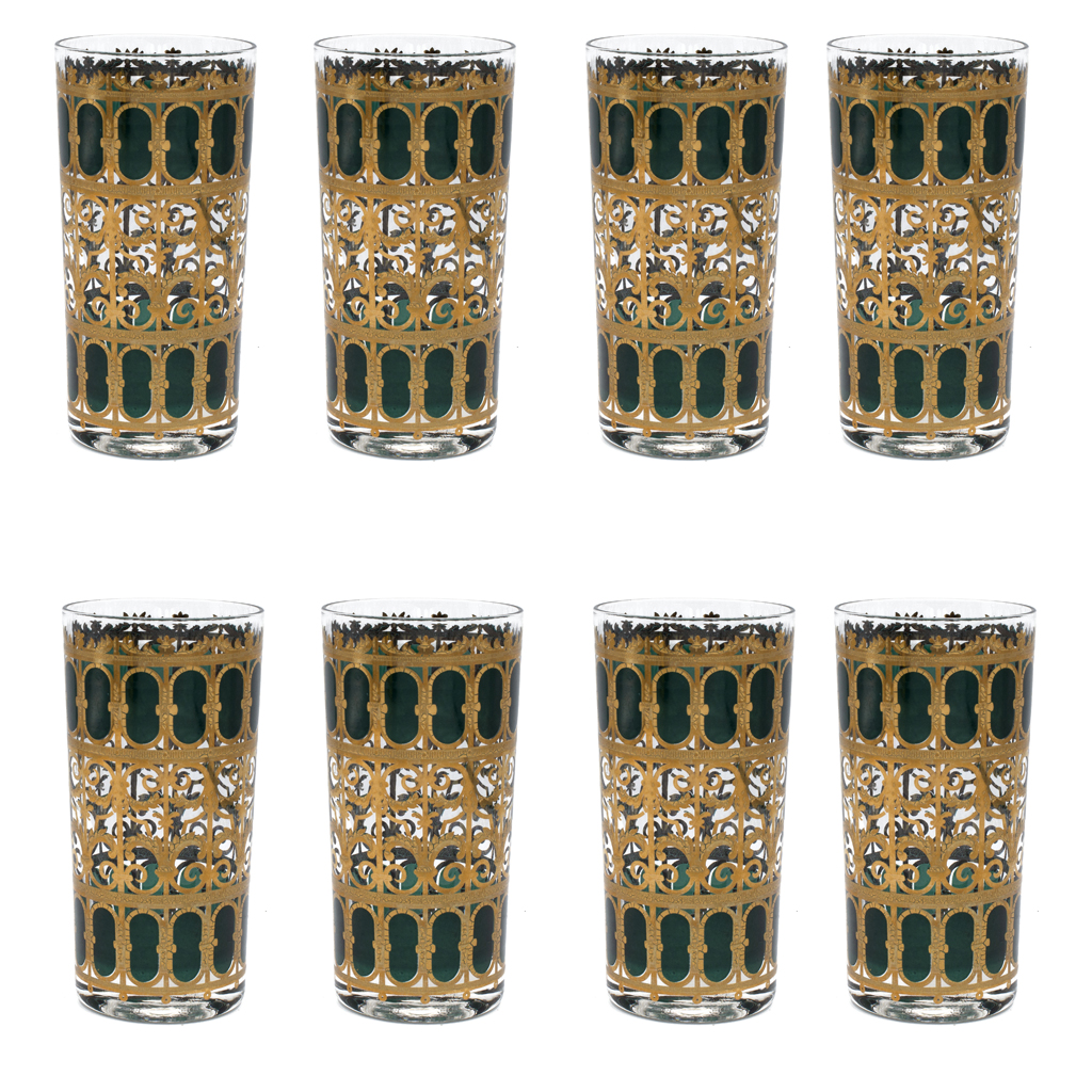 """Culver """"Emerald Scroll"""" pattern green and 22k gold highball glasses, set of eight (8)"""