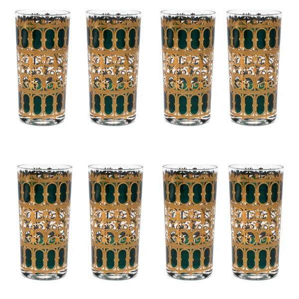 "Culver ""Emerald  Scroll"" pattern green and 22k gold highball glasses, set of eight (8)"