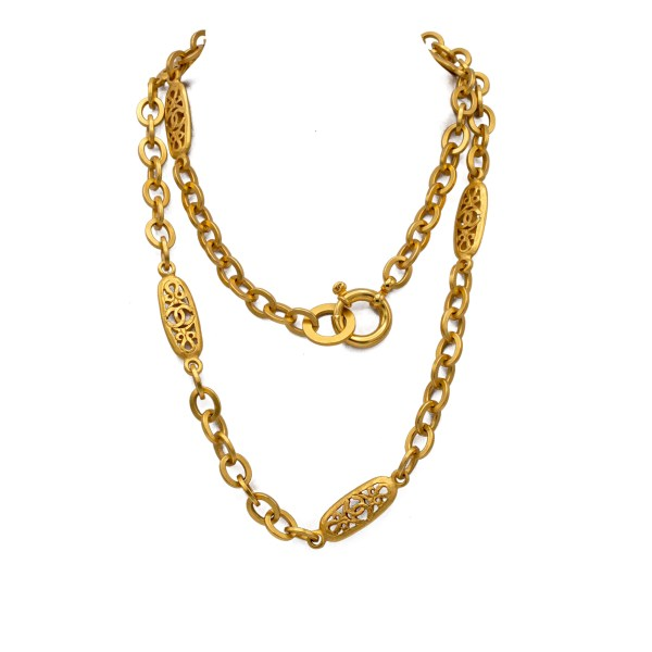 "Chanel 38 1/2"" Matte Gilt Pierced Filigree Panel Necklace, Spring 1995"