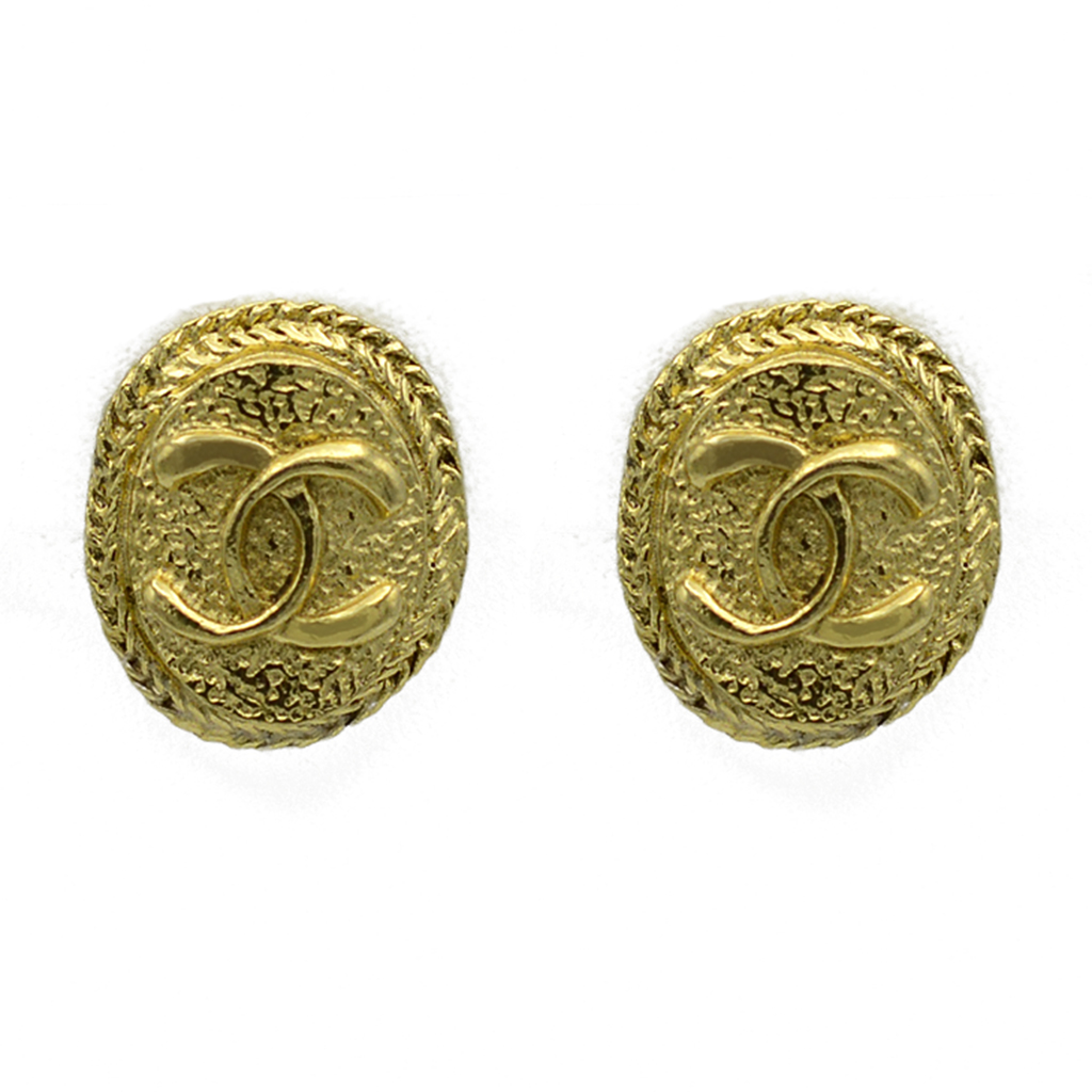 """Chanel 1"""" Oval Logo Earrings with Chain Border, 1980"""
