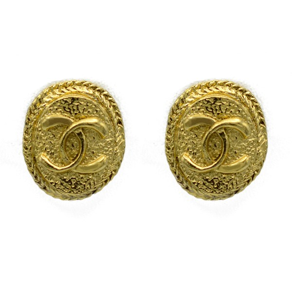 "Chanel 1"" Oval Logo Earrings with Chain Border, 1980"
