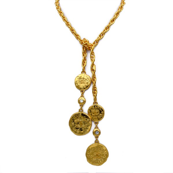 "Chanel 37 1/8"" Lariat Necklace with Double Chanel Coin Ends, 1980"