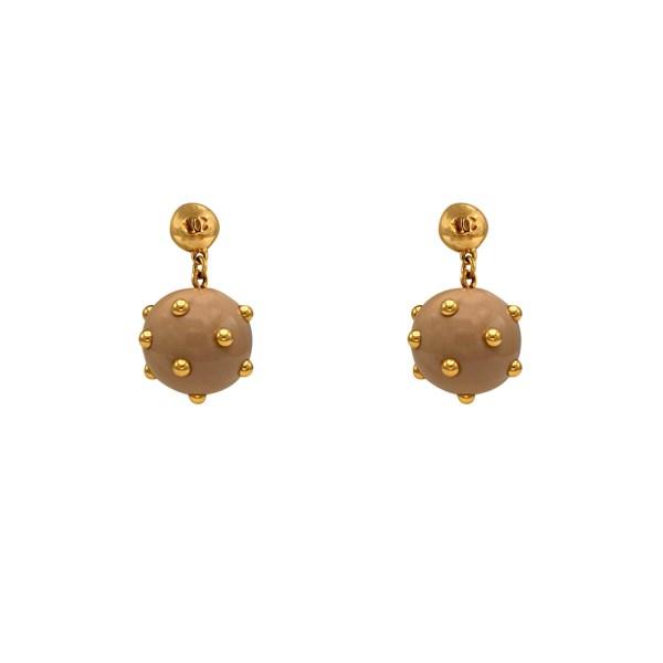 "Chanel 1 1/2"" Beige Acrylic & Gold Polka Dot Earrings, Autumn 2000"