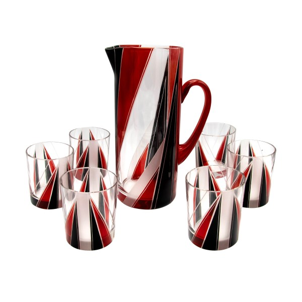 Karl Palda Art Deco Red & Black Pitcher & Rocks Glasses, Set of Six (6)