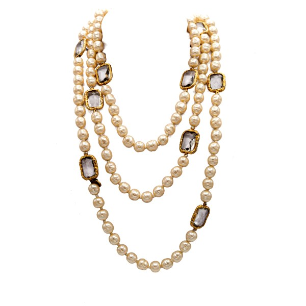 "Chanel 63"" Pearl & Smoke Gripoix Chicklet Necklace, 1981"