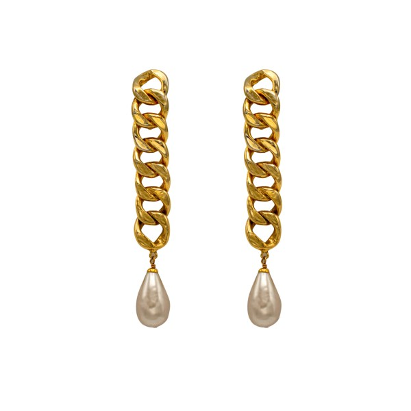 "Chanel 4 1/2"" Rigid Chain with Pearl Drop Earrings, 1988"