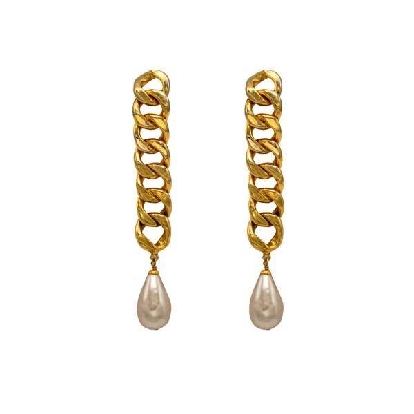 "Chanel 4 1/2"" Rigid Chain with Pearl Drop Earrings, 1988"