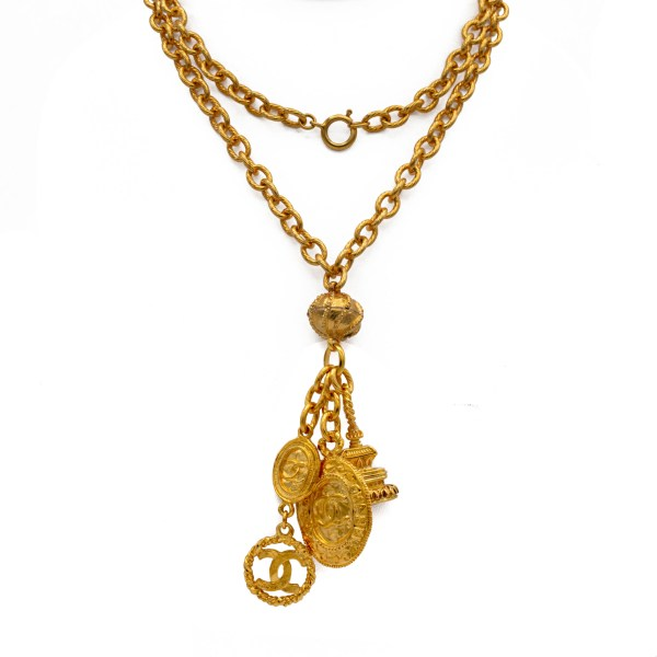 Chanel 33 1/2 Multi Logo Charms Necklace, 1980