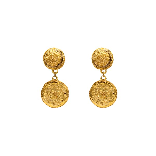 Chanel Gilt Dangle Coin Earrings, 1980