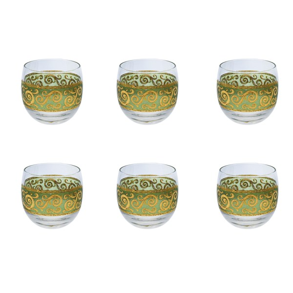 "Culver ""Toledo"" Green & 22k Gold Roly-Poly Glasses, Set of Six (6)"