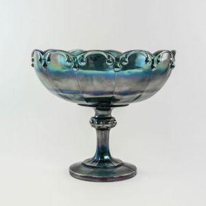 blue carnival glass compote