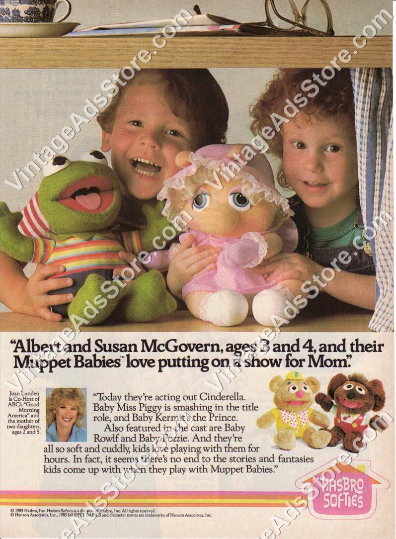 1985 – Hasbro Softies Toys – Muppet Babies – Muppets – Kermit Miss Piggy –  little boys girls – 1 Page Ad