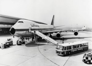 Lufthansa first Boeing 747 at Hamburg Airport