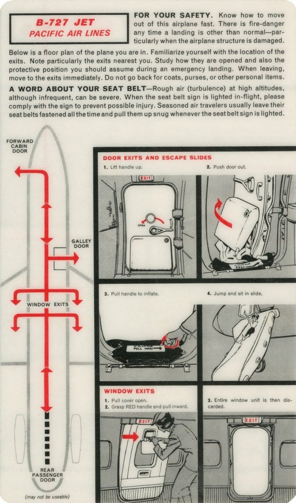 Pacific Air Lines B727 Safety Card - Carl Reese Collection