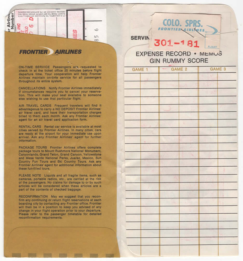 Frontier Airlines Ticket Envelope - Rick Aero Collection