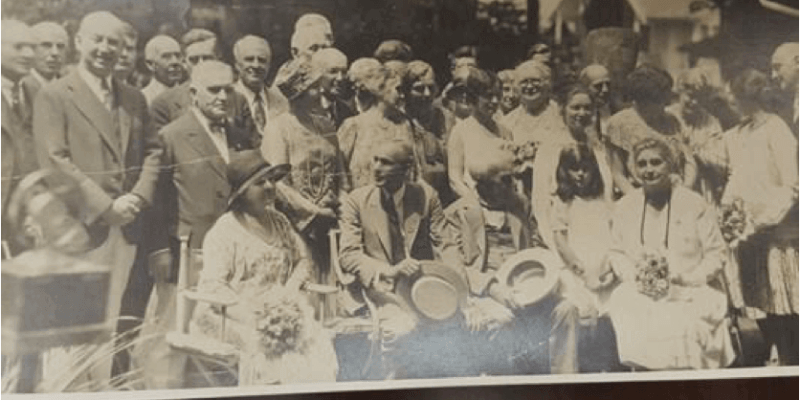 Thomas and Mina Edison with family and friends at the Chautauqua Institution. That is Henry Ford to Edison's right.