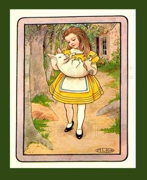 Alice with Piglet 1904 M.L. Kirk Alice's Adventures in Wonderland Book Art Print