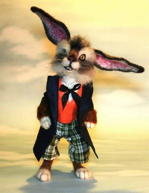 SteviT ~ 2013 TOBY Award Wonderland The March Hare Rabbit Needle felted Storybook OOAK Doll