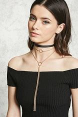 Forever21 Faux Suede Choker Necklace Set