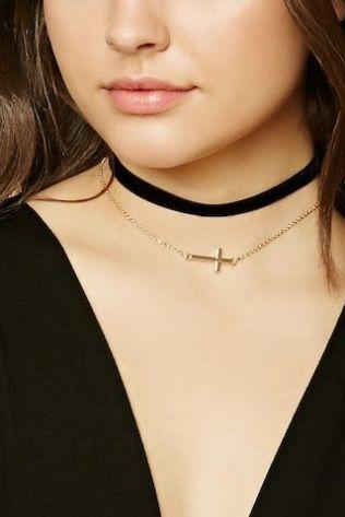 Forever21 Velvet Cross Charm Necklace Set