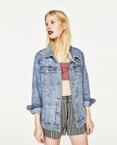 Zara SEQUINNED DENIM JACKET