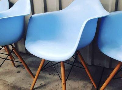 Lichtblauwe Kuipstoeltjes | Vintage Brabant