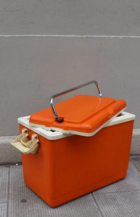 Glacière camping orange vintage 1970