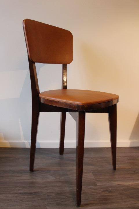 Chaise design scandinave bois et skaï vintage