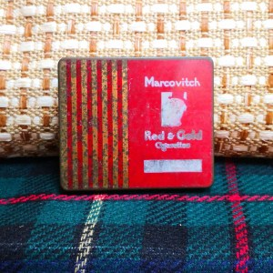 Marcovitch Red and Gold Cigarette Tin Box