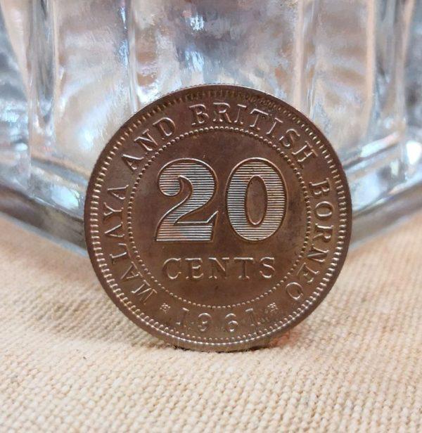 馬來西亞1961年發行2毫 1961 Malaya and British Borneo 20 Cents