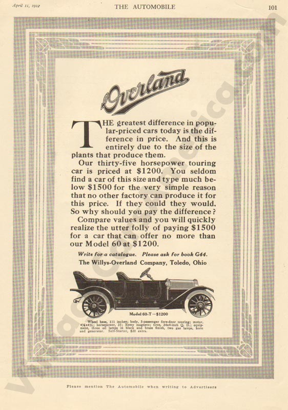 1912 Overland Advertisement