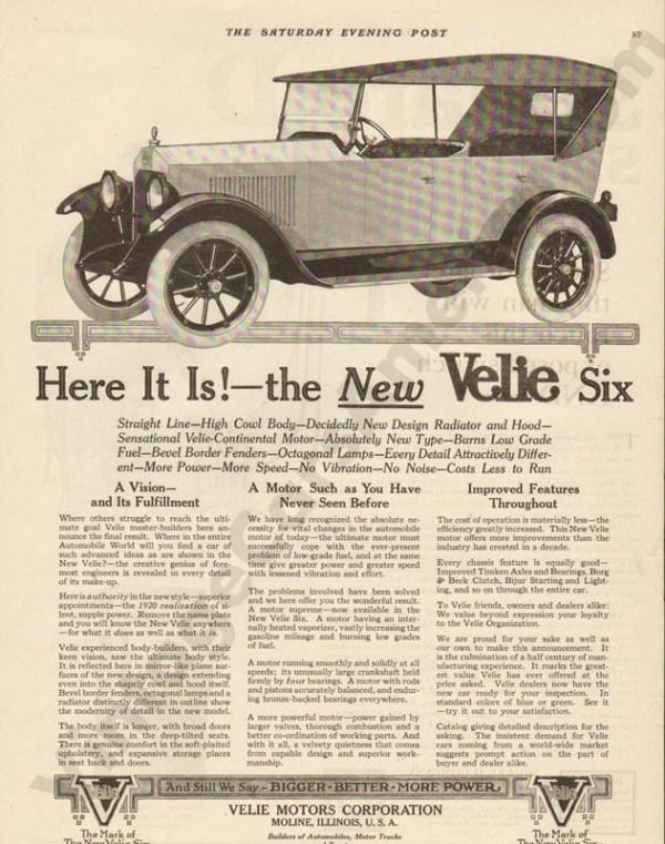 1919 Velie Advertisement