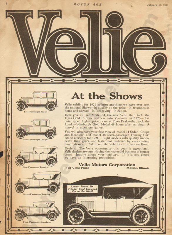 1/31/1921 Velie Advertisement