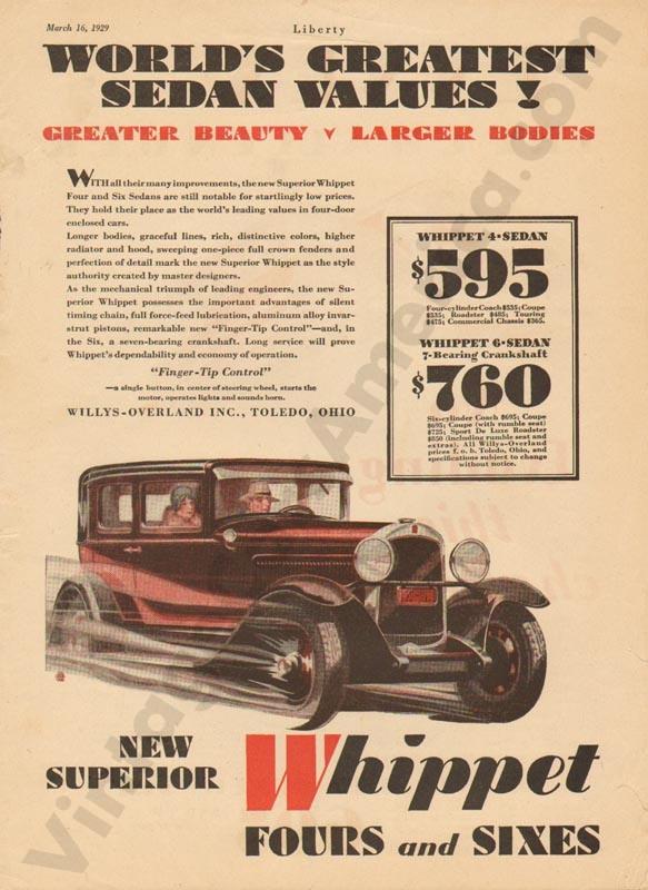 3/16/1929 Whippet Advertisement