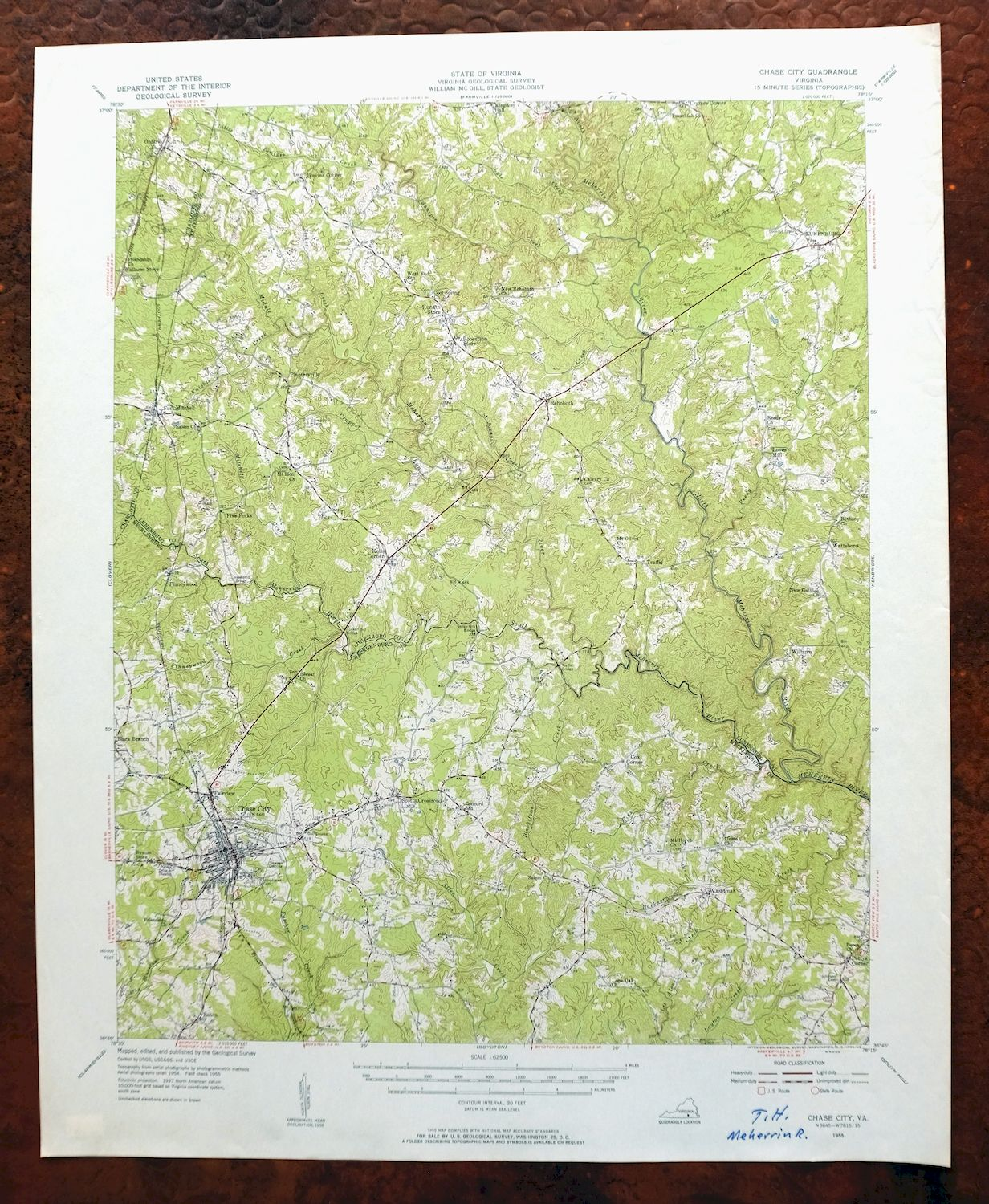 Chase City Virginia Vintage Usgs Topographic Map